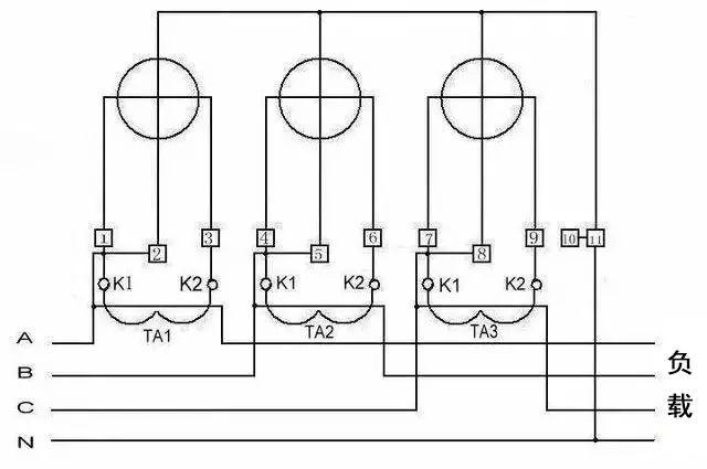 3,三相四线电度表互感器接线