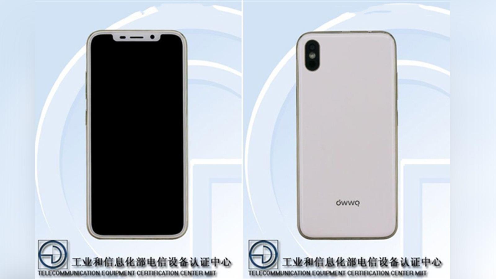 """>正文      owwo x对苹果iphone x模仿可是""""惟妙惟肖"""",正面顶部刘海屏"""