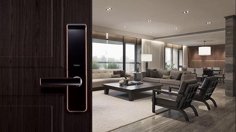 比较适合青古铜颜色门锁,北欧家具搭配古典画像,一个典型的北欧家居